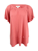 Style & Co Women's Plus Size Flutter-sleeve Chic Swing Blouse (1X, Pimpernel)
