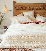 Handmade Tassel Duvet Cover 100% Cotton Donna Cover Bohemian Bedding Ivory Color