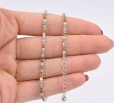 """2mm Rainbow CZ Round Cut Tennis Bracelet Anklet Real Sterling Silver 925 10"""""""