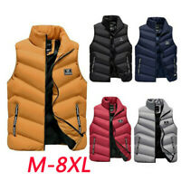 Men's Winter Vest Sleeveless Puffer Warm Outwear Zipper Padded Jacket Coat M-8XL