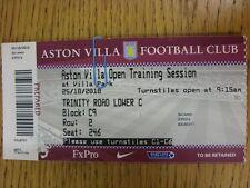 25/10/2010 BIGLIETTO: Aston Villa-apertura sessione di allenamento [A VILLA PARK] (COMPL