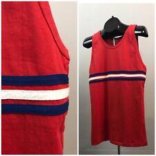 Vintage NOS 80s Red White Stripe Sleeveless Tank Top Cotton Shirt Women's Large