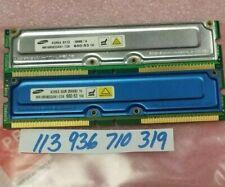 512MB KIT 2X 256MB 184p PC600-53 16d nonECC RDRAM RIMM DUAL RANK 32X8 NON-ECC