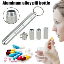 Mini Pill Bottle Keychain Aluminum Container Travel Medicine Holder Case Silver