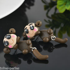 Women Black Cartoon Monkey 3D Animal Polymer Clay Ear Stud Earrings Gift