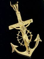 "10k Yellow Gold Jesus Crucifix Wheel Mariners Anchor Cross Pendant 1.85"" 4.7g"