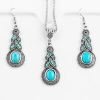 Vintage Elegant Jewelry Sets For Women Turquoise Dangle Earrings Necklace