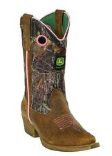 NEW John Deere Girls Size Leather Boots Camo Upper Sizes Kids 9-13.5 Youth 1-6