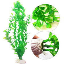 Fish Tank Artificial Plastic Plant Green Ceramic Base Aquarium Decor New