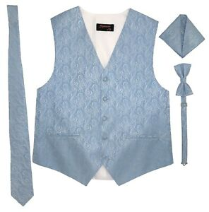 Men Vest Imperial patterned Necktie Bow tie pocket square Full Back top quality