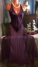 Victoria Secret 100% Silk Purple Long Gown Slip Sexy Mesh Fishnet Sweep S