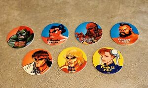 Lot of 7 Street Fighter 2 Pogs / Milk Caps  1993 FREE SHIPPING
