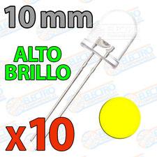 10x LED 10mm AMARILLO Alto Brillo Ultra ultrabright 20mA diodo diode yellow