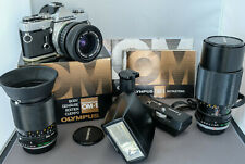 Olympus OM1n Superb Boxed Camera & 3  Lens kit with Flash & MDrive (Reduced)