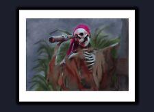 Signed Disney World Adventureland Pirates of the Caribbean Ride Pirate Art Print