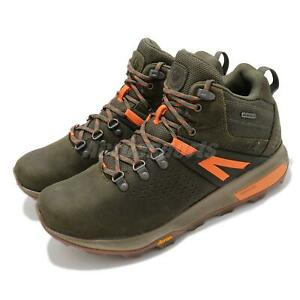 Merrell Zion Peak Mid Waterproof Dark Olive Orange Men Outdoors Hiking J035359
