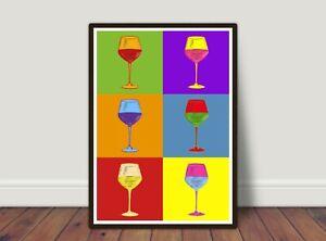 Andy Warhol Style Wine Poster, Modern Art, Pop Art Print, Wall Art Decor