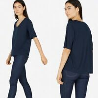 Everlane Luxe Drape Cropped Scoop Neck Short Sleeve Tee Navy Blue XS $35