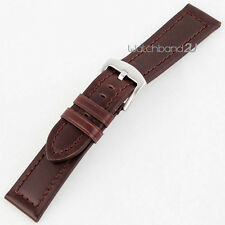 Brown Smooth Matt Leather Watch Band Strap Wide Hole Brushed Clasp for Big Watch