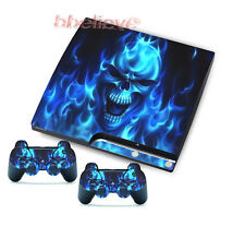 Skulls Stickers Skins Decals for PS3 Slim & 2 Game Controller Blue