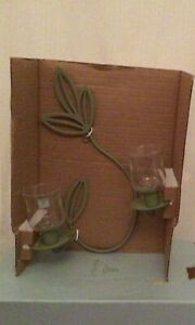 Partylite Green Herbal Spring Wall Sconce P8462 BNIB Rare For Votive Candles