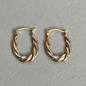 Vintage 9ct Gold Twist Creole Hoop Earrings Three Colour Gold