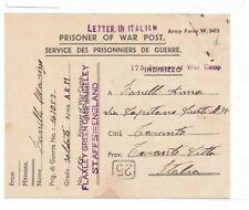 "GB-WWII P.O.W CARD TO ITALY-EX-""LAXLEY GREEN CAMP, RUGELEY, STAFFS 10.2.1946"
