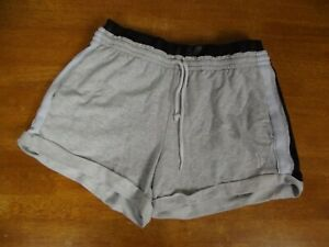 Victoria's Secret PINK Womens LARGE Gray Black Elastic Drawstring Cinch Shorts L