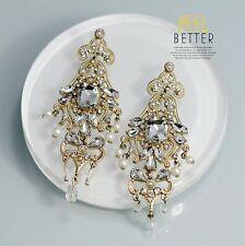 Costume Class Clip on Earrings Gold Dangle Big Chandelier Bridal Weddings J1