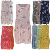Ladies Italian Floral Print Sleeveless Dress Scoop Neck Womens Lagenlook Top