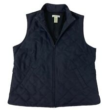 Orvis Black Quilted Full Zip Jacket Vest Womens Large L