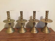 Lot Of 4 Antique Hand Lathed Brass Mid Drip Candlestick Holders