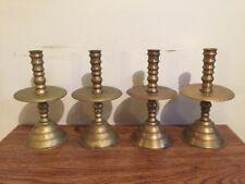 Lot Of 4 Antique Hand Lathed Brass Heemskerk Mid Drip Candlestick Holders