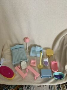 Vintage Playskool Blue Dollhouse Furniture And Other Dollhouse Pieces Various