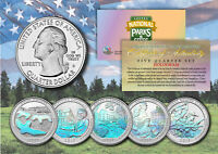 2017 America The Beautiful HOLOGRAM Quarters U.S. Parks 5-Coin Set w/Capsules