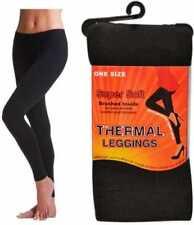 Ladies 1 Size Seamless Soft Thermal Brushed Black Leggings Warm Winter Work Cold