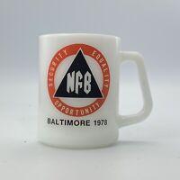 Vintage Federal Milk Glass Baltimore NFB  Logo Coffee Mug 1978 D Handle Cup