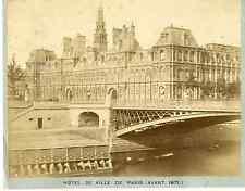 Paris, hôtel de ville  Vintage albumen print  Tirage albuminé  21x27  Circ