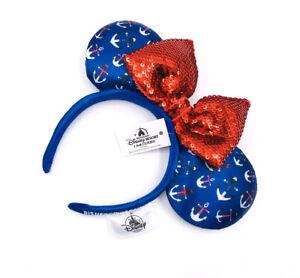 Disney Parks Bow Disneyland Cruise Line Anchor Sequins Minnie Ears Headband