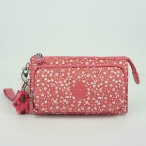 KIPLING DREAMY Clutch Wallet Wristlet Dainty Daisies Pink