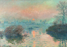 Sun setting on the Seine at Lavacourt Claude Monet wall art poster repro print