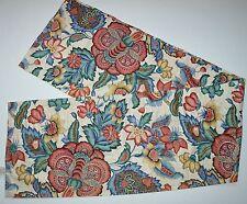 Waverly Greenfield Jacobean Floral Valance Beige Burgundy Blue 15x76 Cotton USA