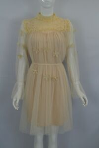 Women's Girl's Pearls Embellished Sheer Long Sleeve Mesh Smock Dress Beige Black
