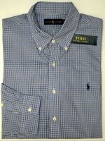 NWT $98 Polo Ralph Lauren Cotton Long Sleeve Shirt Mens Size S XL Blue Plaid NEW