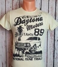 Men's Pale Yellow Dayton Motors Graphics T Shirt Top - Size XS