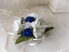 Pearl Wrist Corsage in Royal Blue and Ivory Other Colours Just Ask