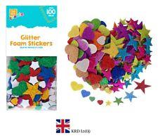 100x Self Adhesive GLITTER FOAM STICKERS Arts & Crafts Love Hearts Stars Pack UK