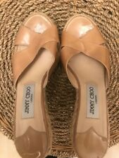 Jimmy Choo Nude Patent Leather Espadrille Wedges Size 37 /Uk 4 - Good Condition