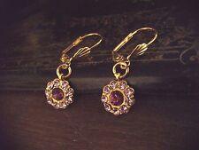 Vintage Light Amethyst Purple & Amethyst Crystal Drop Pierced Hook Earrings