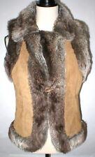New Womens M LAL Live A Little Leather Suede Vest Faux Fur Trim Brown Gray Tan